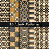 Wektorowy ustawiający dziesięć bezszwowych etnicznych afrykanów wzorów Zdjęcie Stock
