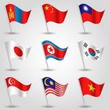 Wektorowy ustawiający dziewięć flaga stanów wschodni Asia Zdjęcie Royalty Free