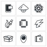 Wektorowy Ustawiający Elektronicznego przemysłu ikony Smartphone, Nucleu i elektron, azjata, manufaktura, procesor, ładunek, pacz ilustracja wektor