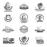 Wektorowy ustawiający etykietki, odznaki z szkolną ręką ilustracji