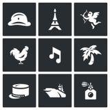 Wektorowy Ustawiający Francja ikony Wojsko, Paryż, wierza, Romantyczny, kogut, muzyka, legia, lotniskowiec, pachnidło ilustracji
