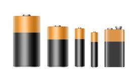 Wektorowy Ustawiający Glansowane Alkaliczne baterie AAA, AA, C, d, PP3 i 9 woltów bateria dla oznakować na Białym tle, royalty ilustracja