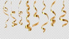 Wektorowy ustawiający goldenribbon serpentyna na przejrzystym tle royalty ilustracja