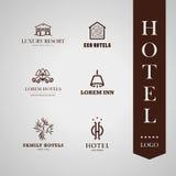 Wektorowy ustawiający hotelu i kurortu loga projekt royalty ilustracja