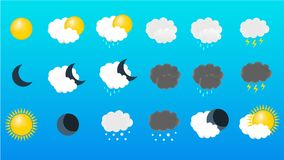 Wektorowy ustawiający ikona pogoda ilustracja wektor