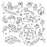 Wektorowy ustawiający ikony, znaki i symbole doodles walentynki ` s, royalty ilustracja