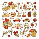 Wektorowy ustawiający ikony, znaki i symbole walentynki ` s, royalty ilustracja