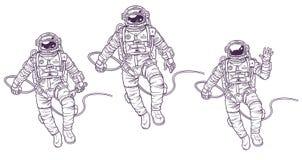 Wektorowy ustawiający ilustracja kosmonauta royalty ilustracja
