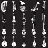 Wektorowy ustawiający instrumentów muzycznych szablony w mieszkanie stylu ilustracja wektor