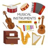 Wektorowy ustawiający instrumenty muzyczni royalty ilustracja