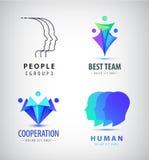 Wektorowy ustawiający istota ludzka, mężczyzna logowie Kreatywnie grupa, praca zespołowa, rodzina, zjednoczenie podpisuje ilustracji