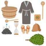 Wektorowy ustawiający kąpielowi akcesoria, sauna akcesoria Ilustracja Wektor