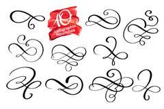 Wektorowy ustawiający kaligraficzni projekta zawijasa elementy i stron dekoracje Elegancka kolekcja ręka rysujący zawijasy i royalty ilustracja