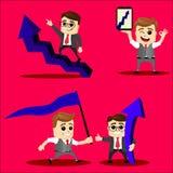 Wektorowy ustawiający kierownika lub biznesowego mężczyzna charakter Zdjęcia Royalty Free