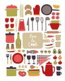 Wektorowy ustawiający kitchenware i karmowi składniki ilustracji
