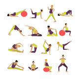 Wektorowy ustawiający kobieta w ciąży robi ćwiczeniu i joga Projektów elementy, ikony na białym tle Zdjęcia Royalty Free