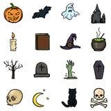 Wektorowy Ustawiający koloru Doodle Halloween ikony Tradycyjni Halloweens atrybuty ilustracja wektor