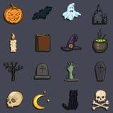Wektorowy Ustawiający koloru Doodle Halloween ikony Tradycyjni Halloweens atrybuty ilustracji