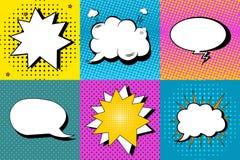Wektorowy ustawiający komiczna mowa gulgocze w wystrzał sztuki stylu Projektuje elementy, tekst chmury, wiadomość szablony ilustracji
