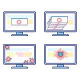 Wektorowy ustawiający komputery z różnymi ochrona problemami: wirusy, śmiertelni trzaski, trojańczycy zdjęcie royalty free