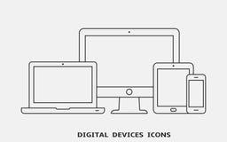 Wektorowy Ustawiający konturu przyrządu ikony Monitor, laptop, pastylka komputer osobisty i smartphone, royalty ilustracja