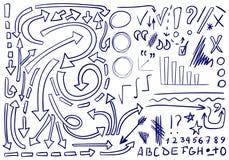 WEKTOROWY ustawiający kreślić ikony Elementy dla teksta planowania lub korekci Kontur strzała royalty ilustracja