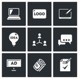 Wektorowy Ustawiający Kreatywnie Agencyjne ikony Komputer, logo, grafiki pastylka, pomysł, wywiad zogniskowany, dyskusja, billboa ilustracji