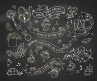 Wektorowy ustawiający kredowe walentynki ` s ikony, znaki i symbole, ilustracji