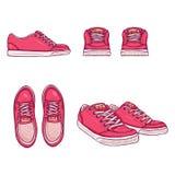 Wektorowy Ustawiający kreskówek łyżwiarek buty Wierzchołka, bocznych i frontowych widoki, Obraz Royalty Free