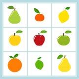 Wektorowy ustawiający kreskówek owocowe ikony odizolowywać na bielu ilustracja wektor