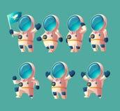 Wektorowy ustawiający kreskówka kosmita, poruszający kosmonauta royalty ilustracja