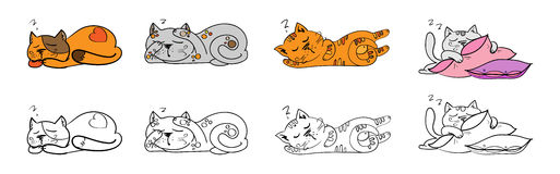 Wektorowy ustawiający kreskówka wizerunków śliczni różni koty barwi z akcjami i emocjami Zdjęcie Royalty Free