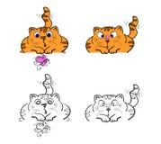 Wektorowy ustawiający kreskówka wizerunków śliczni różni koty barwi z akcjami i emocjami na białym tle pet Obrazy Stock
