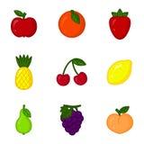 Wektorowy ustawiający kreskówki owoc ikony Apple, pomarańcze, truskawka, ananas, wiśnia, cytryna, bonkreta, winogrono, brzoskwini Obraz Royalty Free