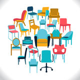 Wektorowy Ustawiający krzesła i karła ilustracji