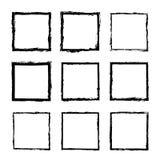Wektorowy ustawiający kwadrat rysujący z atrament ramą 3 ilustracja wektor