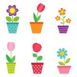 Wektorowy ustawiający kwiaty w garnkach Zdjęcie Royalty Free