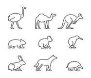 Wektorowy ustawiający liniowi Australijscy zwierzęta Zdjęcie Royalty Free