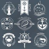 Wektorowy ustawiający loga owoce morza Kałamarnica, tuńczyk, ostrygi, krab, homar Fotografia Stock