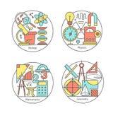 Wektorowy ustawiający logo biologia, physics, geometria, mathematics royalty ilustracja
