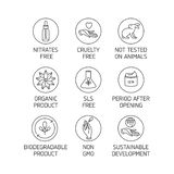 Wektorowy ustawiający logo, odznaki, ikony dla naturalnego eco życzliwych handmade produktów i organicznie kosmetyki, weganin i ilustracja wektor