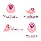 Wektorowy ustawiający logowie dla manicure'u i gwoździa salonu Zdjęcie Stock