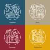 Wektorowy ustawiający logowie literatura, muzyka, język, architektura royalty ilustracja