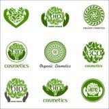Wektorowy ustawiający logowie z tekstem Organicznie, eco, życiorys logowie na białym tle polecającym dla kosmetyków, ręki śmietan Zdjęcie Stock