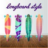 Wektorowy ustawiający longboard jeździć na deskorolce projekta elementów ikony Zdjęcia Royalty Free