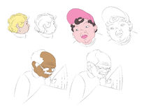 Wektorowy ustawiający ludzie głów Royalty Ilustracja