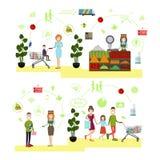 Wektorowy ustawiający ludzie robi zakupy płaskich symbole, ikony Obraz Royalty Free