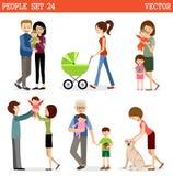 Wektorowy ustawiający ludzie z dziećmi ilustracja wektor
