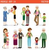 Wektorowy ustawiający ludzie z dziećmi royalty ilustracja
