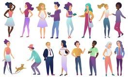 Wektorowy ustawiający młoda samiec i żeńscy ludzie w przypadkowych ubraniach komunikujemy z each inny Nowożytny płaski gradientow royalty ilustracja